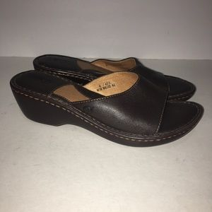 Born Slip On Sandal Leather Brown Size 9